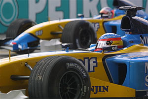 Malaysia 2003, Renault front row
