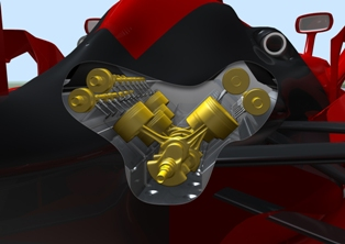 Ferrari cutout engine view