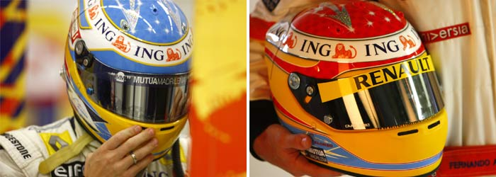 Fernando Alonso's 2008 and 2009 helmet designs